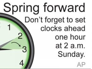 Set clock forward an hour this weekend, it's springtime